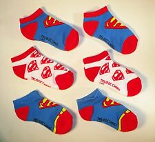 6 Pairs Superman  Short Athletic Socks  -  Boys Shoe Size 3 -8.5