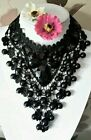 Glamerous Black Pretty Lace beaded choker necklace wedding prom vintage gothic