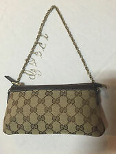Authentic Gucci GG Logo Monogram Brown Pochette Chain Logo Strap