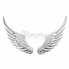 3D Chrome Metal Angel Wing Car Decoration Emblem Badge Decal Logo Sticker Silver