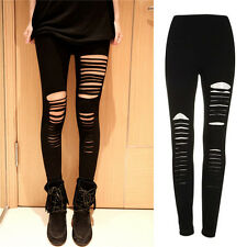 Sexy Black Punk Ripped Torn Slashed Cut Striped Leggings Pants Gothic Club uk