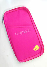 Handy Passport Holder Organizer Travel Pouch Bag / Wallet - Fushia