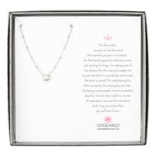 """Dogeared Pearls of White Pearl On Beaded Chain Sterling Chain Necklace, 16"""""""