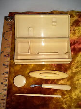 Nice Antique Celluloid Box and Vanity Nail care set round box buffer Vintage