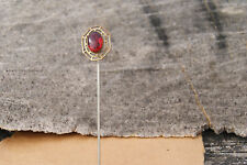 ANTIQUE RUBY RED ROUND VICTORIAN VINTAGE ART DECO HATPIN OLD ESTATE FIND HAT PIN