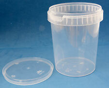 10 x 1000ml Clear Plastic Round Tamper Proof Tubs with Lids