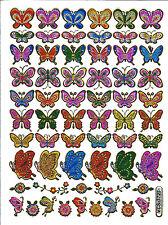 Stickers scrapbooking métallisés petits papillons 13 cm x 10 cm bords dorés