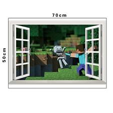 3D Minecraft Vinyl Wall Sticker Decal Cling Steve Sword Skeleton Window Poster