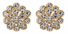 CLIP ON EARRINGS - gold plated luxury clear inset crystal stud earring - Ethel