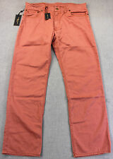 RALPH LAUREN POLO Men NANTUCKET RED LEATHER LOGO PATCH CHINO PANTS NWT 35X30 $85