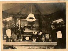 Old Antique Vintage Photograph Gorgeous Old Fireplace Mantle Decorated Retro