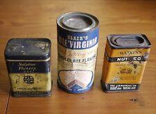 Antique Vtg 40s Watkins Nutmeg Sulfur Flowers Blairs Virginia Spice Cans Jars