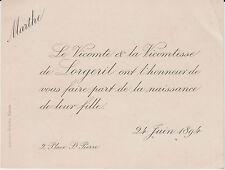 § FAIRE-PART NAISSANCE MARTHE DE LORGERIL 1894 §