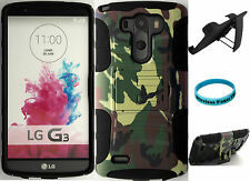 Hybrid Cover Case Kickstand Holster Clip LG G3 Green Army Camo Military