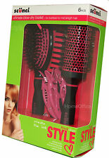 Scunci Blow Style 6 Piece Hairbrush Set Ultimate Blow Dry Brush Set  Nice Gift g