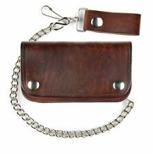 Antique Brown Leather Chain Wallet  6Inch - For Bikers - USA Made