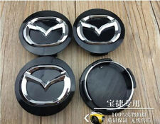 Set of 4 MAZDA Face 56mm Clip 56mm ALLOY WHEELS CENTER CAPS SET black