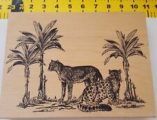 Leopard Rubber Stamp Animal Scene...Very Large...for Collage, Art, etc