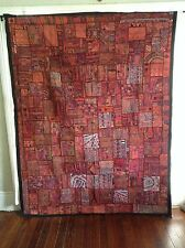 "Antique INDIAN PATCHWORK TAPESTRY 85"" x 66""  Embroidered WALL HANGING KATCHI Rug"