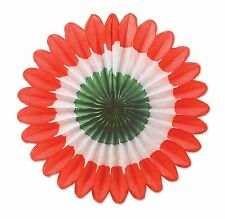Mini Tissue Fans red, white, green 6 Pc / ITALIAN  (B54137-RWG)