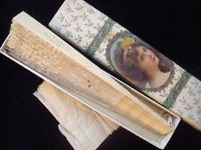 Antique  Vintage Lace  Sequin Fan Celluloid?  w Box