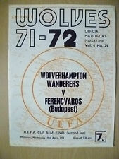 1972 UEFA Cup SIMI FINAL 2nd Leg-WOLVERHAMPTON WANDERERS v FERENCVAROS (Budapest