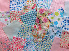 "50 x 4"" Pink & Blue Poly cotton fabric patchwork Squares Craft Quilting"