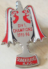 SUNDERLAND 1996 Division 1 champions badge Stud fitting In chrome 21mm x 32mm