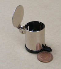 1:12 Working Stainless Steel Pedal Bin Dolls House Miniature Kitchen Accessory