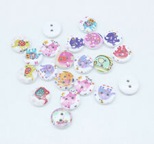 50 Mixed colors Elephant printing 2 Holes Wood Sewing Buttons Scrapbook 15mm A1