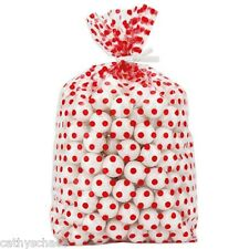 "25 Red Polka Dots Print Cellophane 4x9"" Cello Gift Bags Candy Christmas Holiday"
