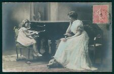 Child Girl Mother Music Piano Taxidermy Bear Rug vintage old 1910 photo postcard