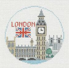 "Kathy Schenkel ""BIG BEN"" CLOCK in LONDON handpainted Needlepoint Canvas Ornament"