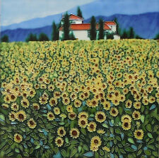 """HAND PAINTED CERAMIC WALL TILE """"SUNFLOWER FIELDS """" by STEVE THOMS 12"""" x 12"""" NEW"""