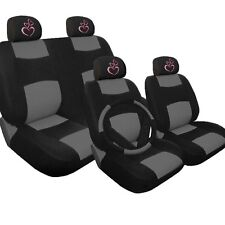New Pink Heart 4X Syn Leather Car Auto Seat Covers and 4 Headrest Covers BG