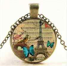 Vintage Butterfly Eiffel Tower Cabochon Bronze Glass Chain Pendant Necklace NEW