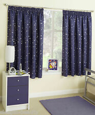 MOON & STARS METALLIC PRINT PLAIN TAPE TOP THERMAL BACKED SEMI BLOCKOUT CURTAINS