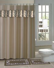 TAUPE MOSAIC 15PC Complete Bathroom Set Rubber Backing Rug Bath Mats SHOWER