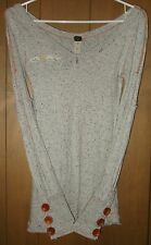 Free People We The Free Gray Nubby Button Cuff Thermal Top Shirt Rare