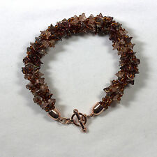 Designer Kumihimo Bracelet with Graduated Copper Flowers and Copper End Caps