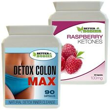 WEIGHT LOSS COMBO 90 Raspberry Ketones + Detox Inner Colon Cleanse Capsule Diet