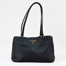 Prada Black Nylon Leather Trim Top Handle Shoulder Bag