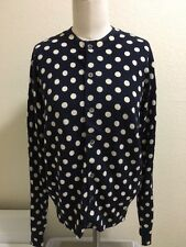 New COMME des GARCONS for H&M NAVY BLUE POLKA DOT MEDIUM WOOL CARDIGAN SWEATER
