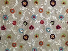 CLARKE & CLARKE KASHMIR SUMMER FLORAL CREWELWORK EMBROIDERED CURTAIN FABRIC