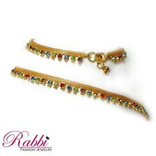 Beautiful Design Gold plated  anklet (payal) with Color stone