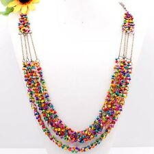 A++Handmade Mixed Wooden Abacus Round Beads 4-Row Necklace 30 Inches 1pcs NEW