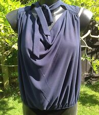 River Island Navy Sleeveless Cowl Neck Blouse Top Size 14 Excellent Condition