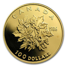 1986 Canada 1/2 oz Proof Gold $100 Coin - International Year of Peace