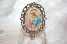 Custom Silver Rosary Center Part/Rosary Making/Queen of Heaven w/ Pink Bow