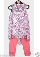 GIRL'S FUNKY DIVA 3PC VEST TOP,CHIFFON BLOUSE & LEGGING SET/OUTFIT 3 4 5 6 7 8YR